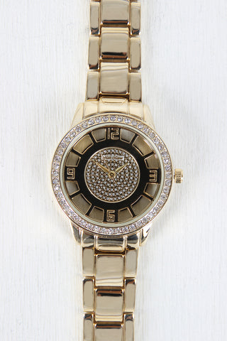 Clear Face Rhinestone Boyfriend Watch