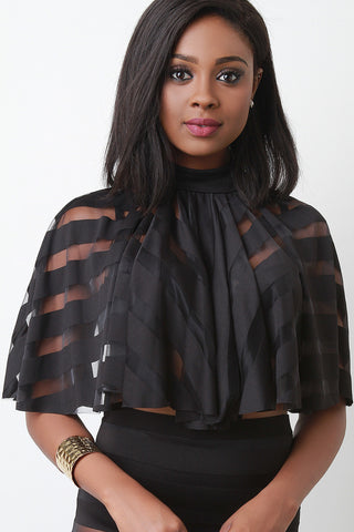 Semi Sheer Open Back Cape Style Crop Top