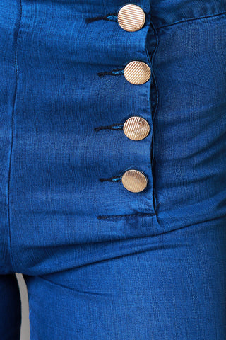 Button Detail Wide Leg High Waisted Pants