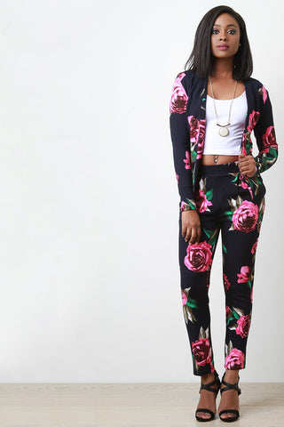 Textured Rosette High Waisted Pants