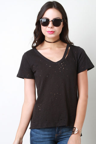 V-Neck Distressed Marled Tee