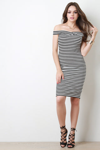 Off The Shoulder Stripe Bodycon Dress