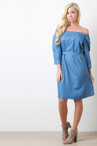 Off The Shoulder Chambray Midi Dress