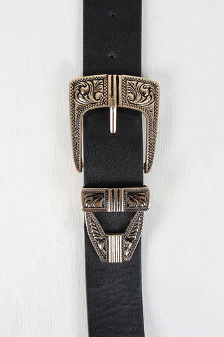 Wide Double Statement Buckle Belt