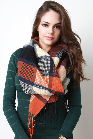 Over-sized Plaid Scarf