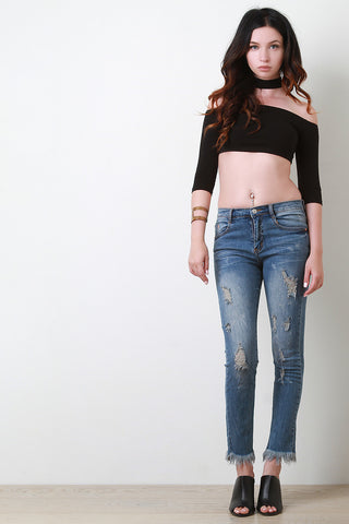 Distress Fringe Hem Denim Jeans