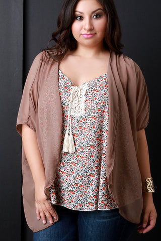 Casual Chiffon Cover Up High Low Cardigan