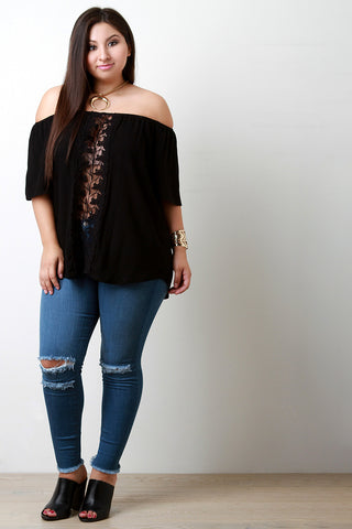 Off The Shoulder Crochet Lace Leaves Panel Top