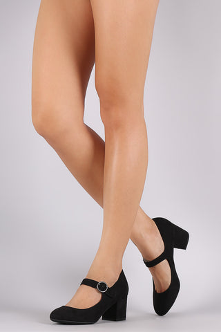 Bamboo Mary Jane Chunky Heel Pump