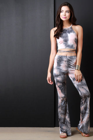 Splashed Tie Dye Flare Cut Pants