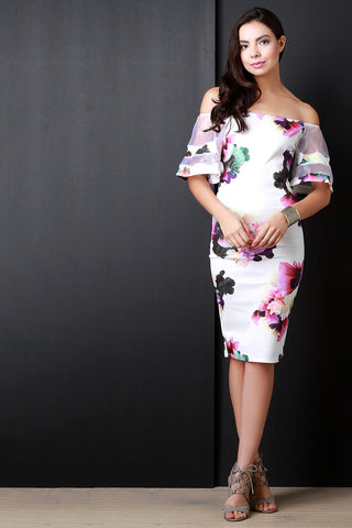 Floral Off The Shoulder Mesh Bell Sleeves Midi Dress