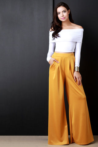 Pleated Wide Leg Pocketed Loose Pants