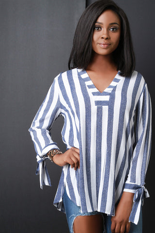 Striped V-Neck Tied Sleeve Top