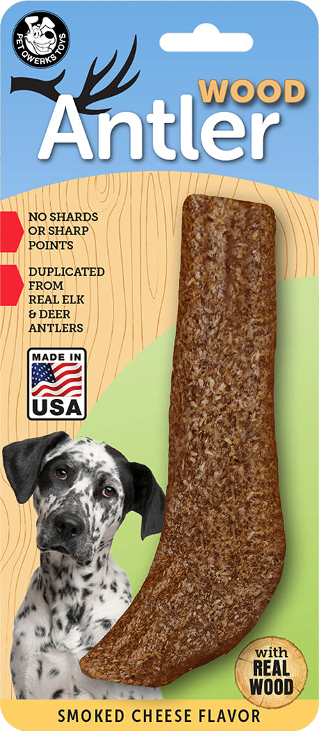 Smoked Cheese Flavored Antler Wood Dog Chew Toys, Made in USA - Pet Qwerks | Interactive Dog Toys