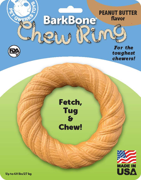 BarkBone Chew Ring with Peanut Butter Flavor Dog Chew, Fetch and Tug Toy for Aggressive Chewers, Made in USA