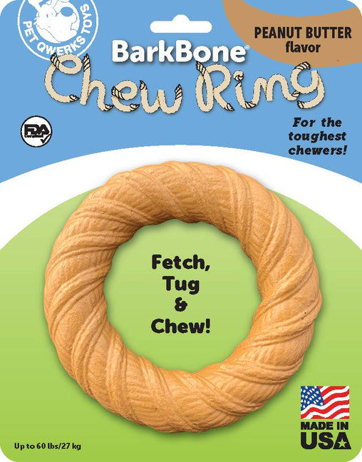 BarkBone Chew Ring with Peanut Butter Flavor Dog Chew, Fetch and Tug Toy for Aggressive Chewers, Made in USA - Pet Qwerks | Interactive Dog Toys