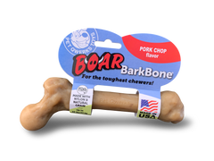 Pet Qwerks Boar BarkBone with Pork Chop Flavoring Dog Chew Toy for Aggressive Chewers, Made in USA - Pet Qwerks | Interactive Dog Toys