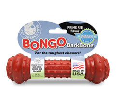 Pet Qwerks Bongo BarkBone with Prime Rib Flavor Dog Chew Toy for Aggressive Chewers, Made in USA - Pet Qwerks | Interactive Dog Toys