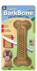 Flavorit BarkBone Wood with Mint Flavor Dog Chew Toy, Made in USA - Pet Qwerks | Interactive Dog Toys