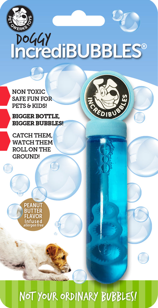 New! Doggy IncrediBubbles™ with Peanut Butter Flavor - Bigger Bottle - Pet Qwerks | Interactive Dog Toys