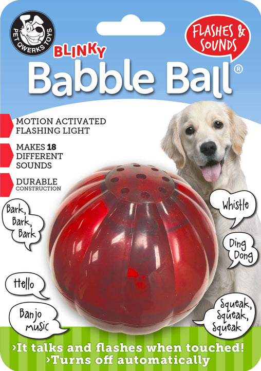 Blinky Babble Ball Interactive Dog Toy, Flashes and Talks when Touched! - Pet Qwerks | Interactive Dog Toys