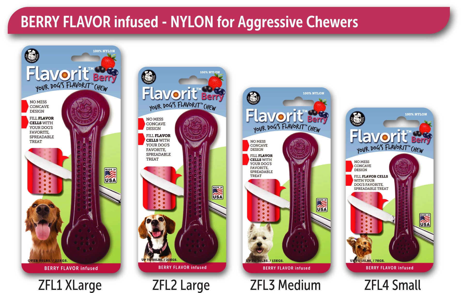 Flavorit™ Nylon Bone Dog Chew Toy BERRY Infused