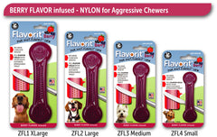 Flavorit™ Bone Berry Flavor Dog Chew Toy, Made in USA - Pet Qwerks | Interactive Dog Toys