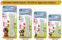 Flavorit Bone Chicken Flavor Infused Dog Chew Toy, Made in USA - Pet Qwerks | Interactive Dog Toys