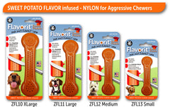 Flavorit™ Nylon Bone Sweet Potato Flavor Infused - Pet Qwerks | Interactive Dog Toys