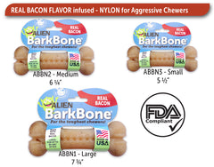 Pet Qwerks Alien BarkBone with Real Bacon Dog Chew Toy, Made in USA - Pet Qwerks | Interactive Dog Toys