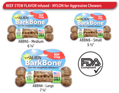 Pet Qwerks Alien BarkBone® Beef Stew Flavor-Infused Dog Chew Toys - Pet Qwerks | Interactive Dog Toys