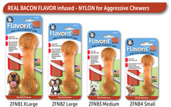 Flavorit Bone Bacon Infused Dog Chew Toy, Made in USA - Pet Qwerks | Interactive Dog Toys