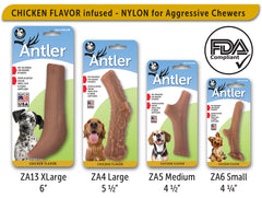 Nylon Antler Dog Chew Toy - Chicken Flavor Infused - Pet Qwerks | Interactive Dog Toys