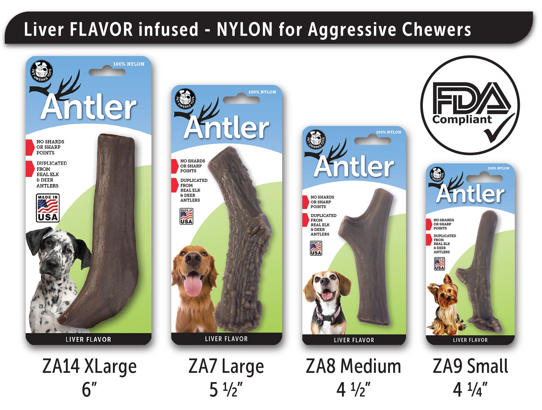 Nylon Antler Dog Chew Toy LIVER Flavor Infused