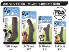 Nylon Antler Dog Chew Toy - LIVER Flavor Infused - Pet Qwerks | Interactive Dog Toys