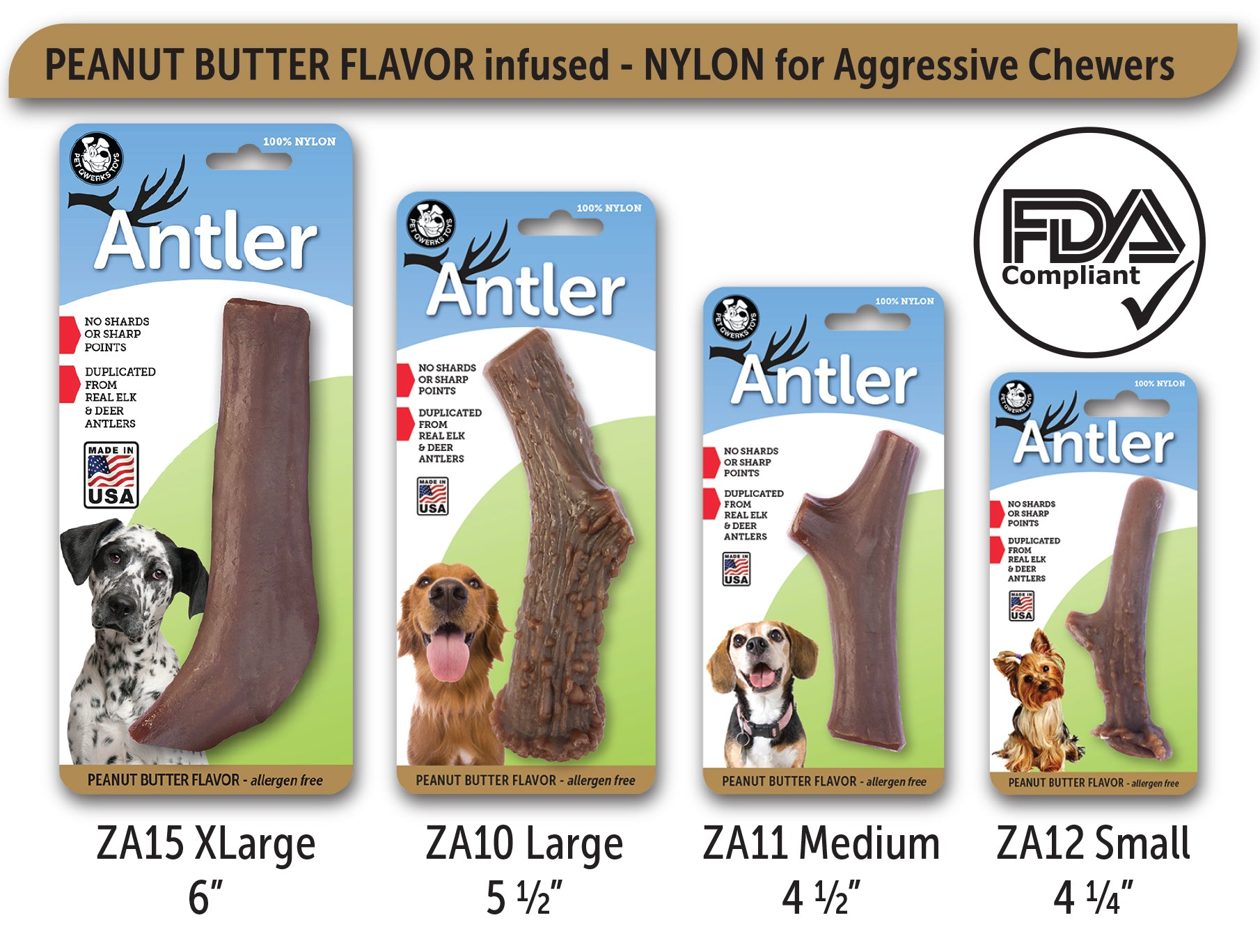 Peanut Butter Flavored Nylon Antler Dog Chew Toys Made In
