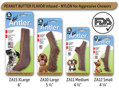Peanut Butter Flavored Nylon Antler Dog Chew Toys, Made in USA - Pet Qwerks | Interactive Dog Toys