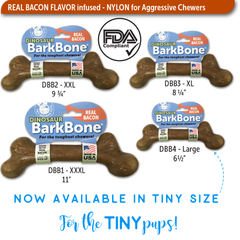 DINOSAUR BACON BarkBone Dog Chew Toy for Aggressive Chewer, Made in USA - Pet Qwerks | Interactive Dog Toys