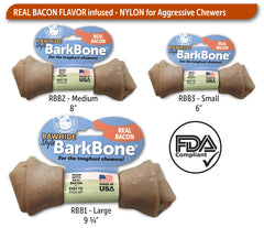 Rawhide Style BarkBone Dog Chew Toy Bacon Infused - Pet Qwerks | Interactive Dog Toys