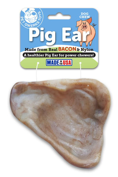 Pig Ear Dog Chew Toy, Made in USA - Pet Qwerks | Interactive Pet Toys