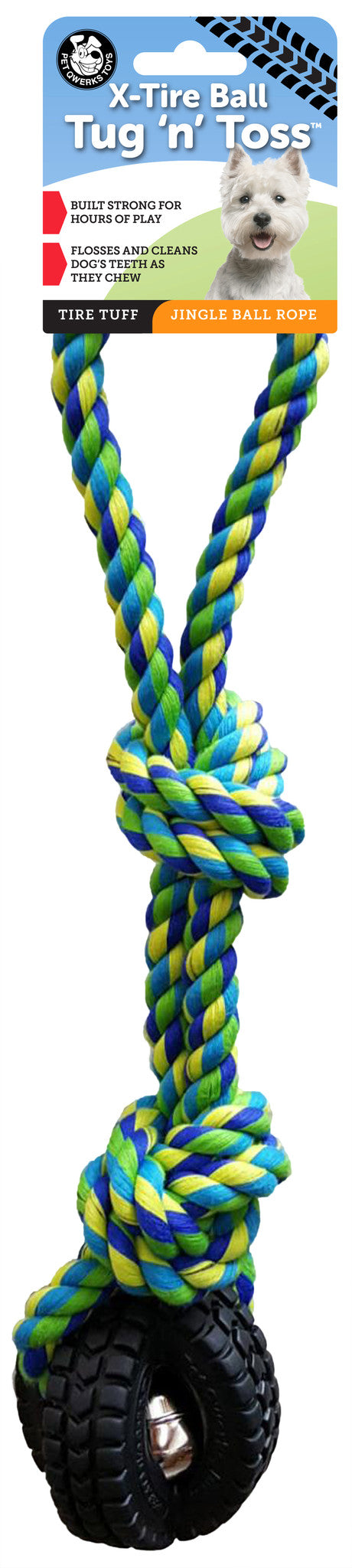 Jingle X-Tire Ball with Knotted Rope, Tug 'n Toss Dog Toy - Pet Qwerks | Interactive Pet Toys
