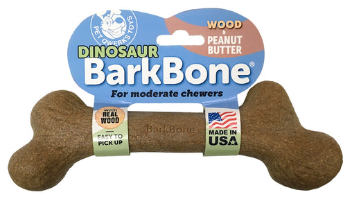 Dinosaur BarkBone Wood with Peanut Butter Flavor Dog Chew Toy, Made in USA - Pet Qwerks | Interactive Pet Toys