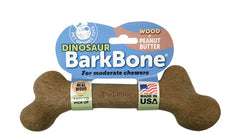 Dinosaur BarkBone® Wood & Peanut Butter Flavor Infused Dog Toy Chew - Pet Qwerks | Interactive Dog Toys
