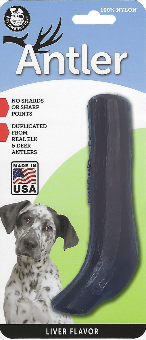 Liver Flavored Nylon Antler Dog Chew Toys, Made in USA - Pet Qwerks | Interactive Dog Toys
