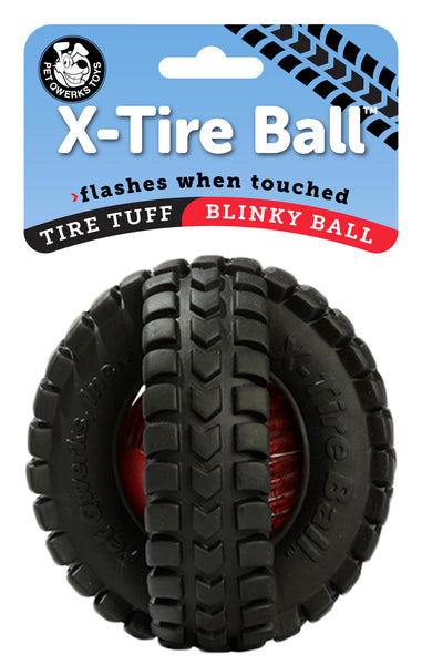 Blinky X-Tire Ball, Flashes Bright Red When Touched! - Pet Qwerks | Interactive Pet Toys