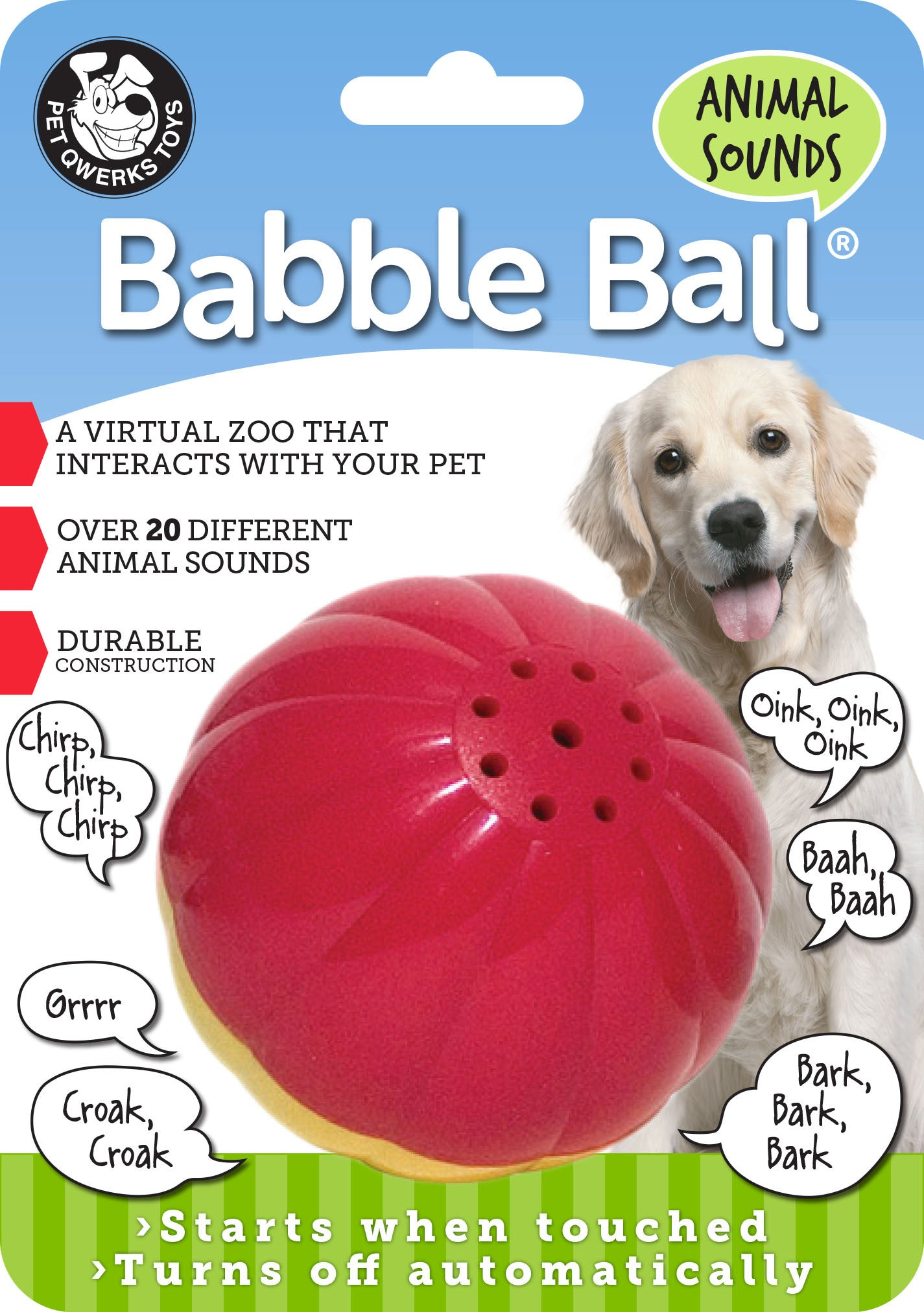 Animal Sounds Babble Ball Interactive Dog Toy, Makes 20 Barnyard & Jungle Sounds When Touched! - Pet Qwerks | Interactive Pet Toys