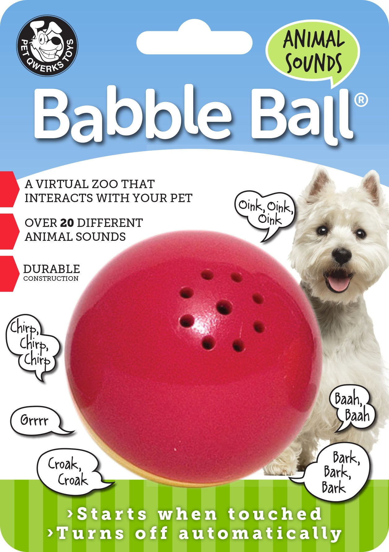 Animal Sounds Babble Balls Dog Toy Pet Qwerks