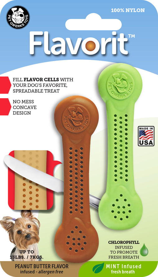 Flavorit Nylon Bone Dog Chew Toys 2-PK Mint & Peanut Butter, Made in USA - Pet Qwerks | Interactive Pet Toys