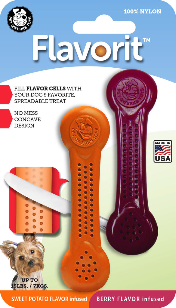Flavorit™ Nylon Bone Dog Chew Toys 2-PK Berry & Sweet Potato - Pet Qwerks | Interactive Dog Toys