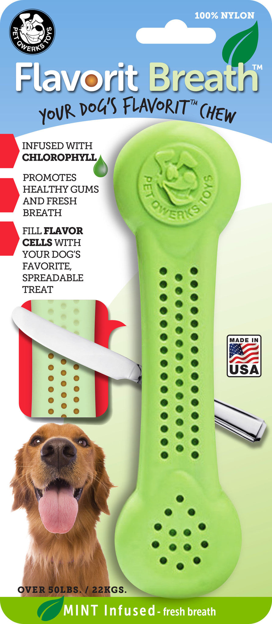 Flavorit Breath Bone Mint Infused Dog Chew Toy, Made in USA - Pet Qwerks | Interactive Dog Toys